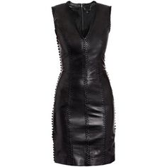 black leather corset-lace dress by Alexander McQueen