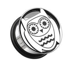 Owl Hollow 316L Surgical Steel Single Flared Ear Gauge Plug