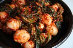 kimchi recipes from Cooking Korean food with Maangchi Maangchi Recipes, Korean Vegetables, Radish Kimchi, Korean Side Dishes, Kimchi Recipe, K Food, Beef And Potatoes, Korean Food, Korean Men