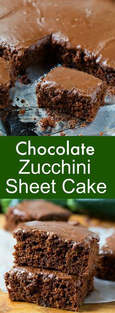 Chocolate Zucchini Sheet Cake with chocolate icing. Great for potlucks and picnics!