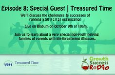 Episode 8 features a very special guest.  We will have members of Treasured Time on to discuss running a non-profit and how you can help families create lasting memories with their terminally ill parents.