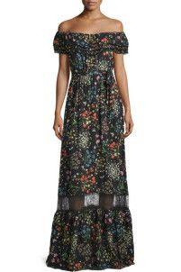 ALICE + OLIVIA Cheri Off-the-Shoulder Floral Maxi Dress