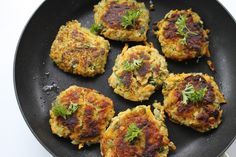 Crispy veggie cakes with chickpeas, parsley and a chunky tomato chutney