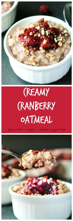Creamy Cranberry Oatmeal - super quick and easy and uses up any leftover cranberry sauce you might have from the holidays. No added sugar! Vegan Breakfast Recipes, Breakfast For Kids, Breakfast Dishes, Healthy Breakfast Recipes, Brunch Recipes, Vegan Recipes, Breakfast Ideas, Healthy Breakfasts, Clean Breakfast