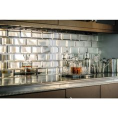 58 best mirrored backsplash images modern kitchens bath room rh pinterest com Mirrored Subway Tiles Antique Mirror Backsplash