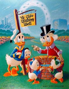 """""""Wishing Well"""" painting by Carl Barks, based on his cover to Uncle Scrooge Mickey Mouse Cartoon, Mickey Minnie Mouse, Cartoon Kids, Disney Mickey, Disney Art, Disney Pixar, Walt Disney, Disney Family, Donald Duck Comic"""