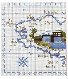 View album on Yandex. Cross Stitch Sea, Cross Stitch House, Cross Stitch Patterns, Embroidery Map, Cross Stitch Landscape, Little Stitch, Pattern Books, Cross Stitching, Pixel Art