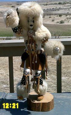 This is soooo cool!!  Love it!  Native Navajo White Buffalo Dancer Kachina by Irene Mcbrown Shiprock Signed | eBay