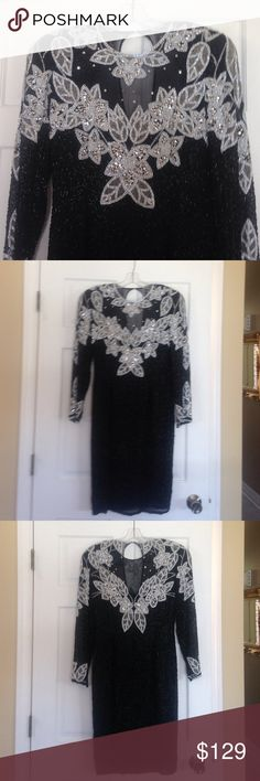 ‼️ REDUCED ‼️ Stunning after 5 dress Stunning after 5 beaded and sequence dress. Black, white and silver. There are a couple sequins missing that can be fixed. On the right sleeve the snap needs a couple stitches as shown in picture 4. Other than that great condition!!!  Lining is 100% silk. BLACK TIE Dresses Midi