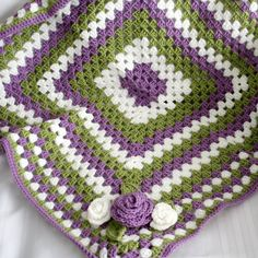 Love the colors   Crochet Baby Blanket / Afghan and Hat-  Mauve, Green and White with Crocheted Rose Appliques - Newborn- 3 Months. $50.00, via Etsy.