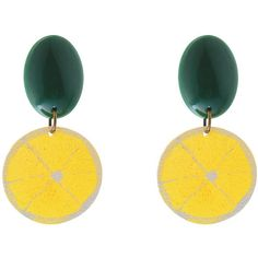 Lemon earrings, Yellow Statement Earrings, Tropical Fruit jewelry,... (105 AED) ❤ liked on Polyvore featuring jewelry, earrings, stud earrings, oval earrings, yellow earrings, summer earrings and yellow jewelry