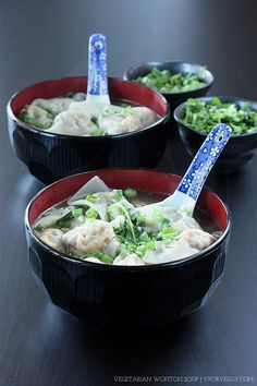 Vegan-friendly wonton soup that is just as delicious as the meat version. These wontons are filled with tofu, shiitake, wood ear mushrooms, carrot, and ginger. Vegetarian Chinese Recipes, Vegetarian Wonton, Vegetarian Menu, Going Vegetarian, Plant Based Recipes, Veggie Recipes, Diet Recipes, Veggie Food, Prepped Lunches
