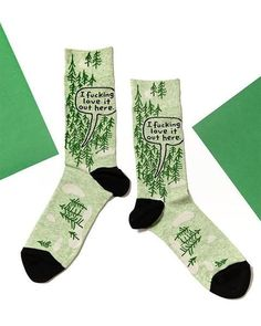 """On these cool outdoorsy socks showing a forest, a hiker says, """"I fucking love it out here."""" Great for women who love nature and aren't afraid to say it! Blue Q Socks, Aesthetic Women, Crazy Socks, Funny Socks, Man Humor, Fit Women, Funny Quotes, Love, Whisper"""