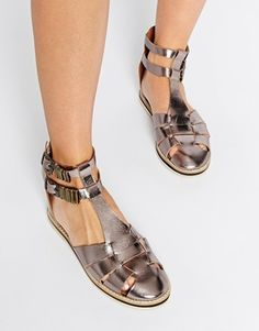 Shoes by ASOS Collection High-shine, metallic leather Full leather lining Twin ankle straps Pin buckle fastenings Flat sole Treat with a leather protector Real Leather Upper Shoe Boots, Shoes Heels, Spring Shoes, Summer Flats, Leather Shoes, Metallic Leather, Real Leather, Kinds Of Shoes, Ankle Straps