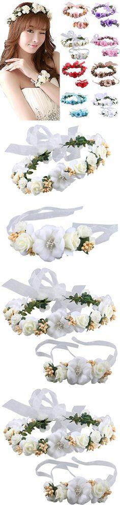 Flower Crown Wedding Hair Wreath Floral Headband Garland Wrist Band Set Beige,OS