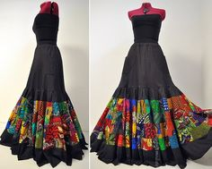 Blooming Trail  Long Boho African Skirt Black by BarefootModiste