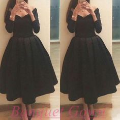 Simple homecoming dresses,cute knee length prom dresses,black prom gowns,2016 satin long sleeves bridesmaid dress for teens