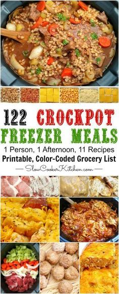 122 Freezer Crockpot Meals in One Afternoon! Well, 4.25 hours to be exact! Printables for the full & detailed grocery list too! https://www.slowcookerkitchen.com/122-freezer-crockpot-meals/
