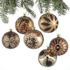 Set of 6 Metallic Deco Ball Ornaments in Christmas Ornaments Christmas Palace, Gold Christmas Tree, All Things Christmas, Christmas Holidays, Christmas Bulbs, Christmas Decorations, Holiday Decorating, Ball Ornaments, Holiday Sales