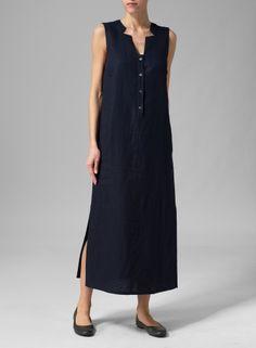 Linen Sleeveless Slip-on Dress Oat