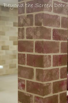 Painting Faux Brick Columns: The Grapevine Part 2 Fake Brick Wall, Painted Brick Walls, Red Brick Walls, Faux Brick, Brick And Stone, Faux Stone, Paint Walls, Cardboard Fireplace, Diy Fireplace