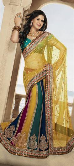 Lehngas Style Sarees, Net, Zari, Thread, Stone, Machine Embroidery, Gota Patti, Sequence, Kundan, Resham, Multicolor Color Family