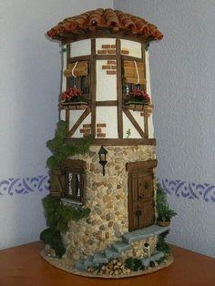 Teja Clay Fairy House, Fairy Houses, Clay Houses, Miniature Houses, Decoupage, Clay Fairies, Tile Crafts, Ideias Diy, Clay Tiles