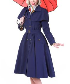 Navy Gold-Lined London Coat - Women & Plus by Tatyana #zulily #zulilyfinds