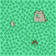 Can you spot the four-leaf clover?  (by Pusheen)