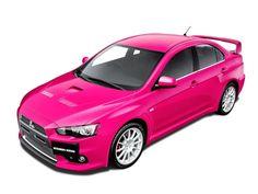 Mitsubishi Lancer in sporty pink. This looks fun!