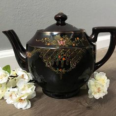 Vintage 1940s Japanese Moriage Redware Hand Painted Teapot.