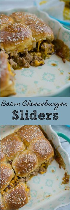 Bacon Cheeseburger Sliders – easy way to serve burgers to a crowd! Everything yo… Bacon Cheeseburger Sliders – easy way to serve burgers to a crowd! Everything you love about burgers on Hawaiian rolls and covered in the most delicious glaze! Cheeseburger Sliders, Beef Sliders, Hamburger Sliders, Mini Sliders, Ideas Sándwich, Ideas Party, Slider Sandwiches, Slider Recipes, Appetizer Recipes