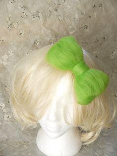 Lime Green Wool Puffy Bow Hair Clip