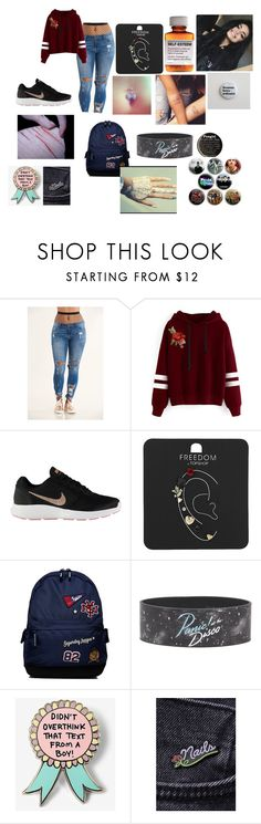 """"""":("""" by perfectgxrls on Polyvore featuring WithChic, NIKE, Topshop, Børn, Superdry, Hot Topic, Express and Laser Kitten"""
