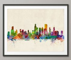 Chicago skyline watercolor   Chicago Skyline Art Print 12x16 up to 24x36 inch 470 by artPause