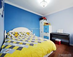 Blue warm mix of children's room design 2016