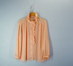 vintage APRICOT Ruffled Blouse - I love this color. So feminine and classic.