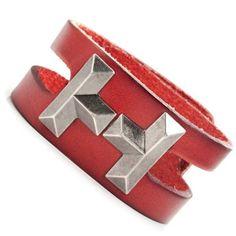 R&B Schmuck Herren Armband Leder C1037-9 - Vintage Tetris Style (rot): 13,90€