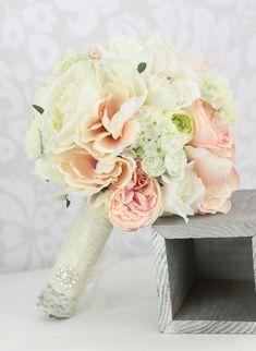 Silk Bride Bouquet Peony Flowers Pink Cream Spring Mix Shabby Chic Wedding Decor