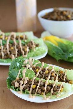 21 Health-Boosting Lentil Recipes: Lentil Lettuce Tacos with Mushrooms, Bell Pepper, Organic Corn, Fresh Cilantro, Romaine Lettuce