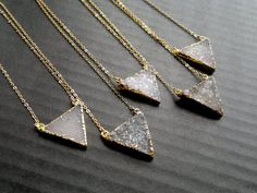 Gold edged druzy triangle necklace. You can choose which one youd like to purchase. Measurements: Stone: They all are approximately 1 x 7/8 (25mm x 20mm) Chain: 18 recommended (choose your length in the product options) Closure part consists of a clasp, a clasp bar, and a 30mm