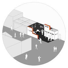 #architecture #axonometric #exhibitionstand #spaceconcept #collage #aplusnoima Floor Plans, Collage, Concept, Collage Illustration, Collages