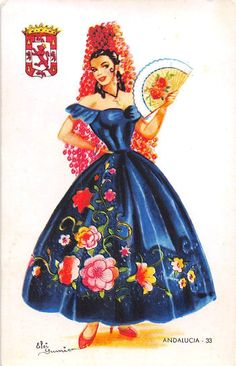 Andalusia n°33 Spanish Dancer, Spanish Woman, Spanish Art, Dancer Cake, Hat Crafts, Chicano Art, Mexican Art, Bohemian Gypsy, Vintage Postcards