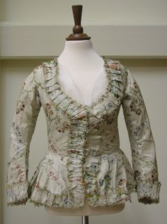 Textile Store Exhibition.  Bodice, French, silk 1740s, construction late 18th century; brocaded silk taffeta, with applied robings and fly braiding, linen lining; accession number 605; AA/66/8  Waddesdon, The Rothschild Collection (The National Trust)