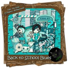 I hated going back to school (although I did really like shopping for school supplies).  Summer's over and you're stuck in a class room being bored for the day.  Don't worry, if the back to school blues are hitting your household, you'll find plenty in this digital scrap kit to entertain! This kit comes stocked with 12 (3600 x 3600 pixel, .jpg) papers and 50 .png elements. 300 DPI.  Personal use only.