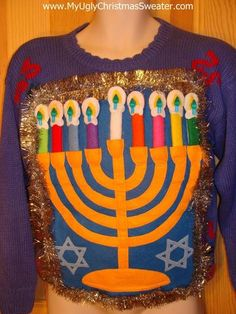 Ugly Hanukkah Sweater ANY SIZE Menorah Dreidel by ElvesGoneWild ...