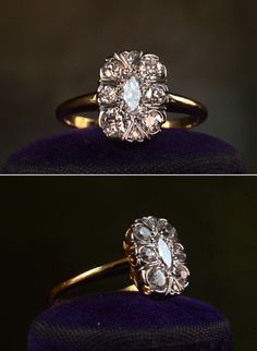 1900s European and Marquise Cut Diamond Cluster Ring, Platinum, 14K