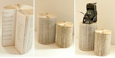Book Page Pedestals - love this idea for displaying items in bookshelves - perfect!