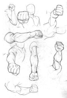 Braços, mãos e vários socos:
