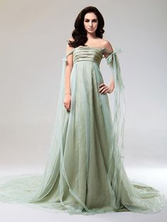 Taffeta And Organza A-line Strapless Court Train Evening Dress inspired by Taylor Swift - USD $149.99